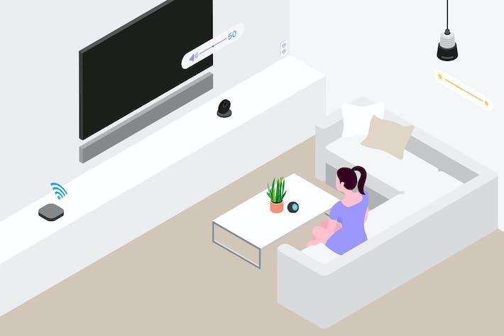 Thumbnail for Smart Home Living Room Isometric Illustration