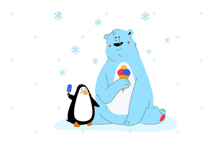 Thumbnail for Polar bear and penguin  - flat design illustration