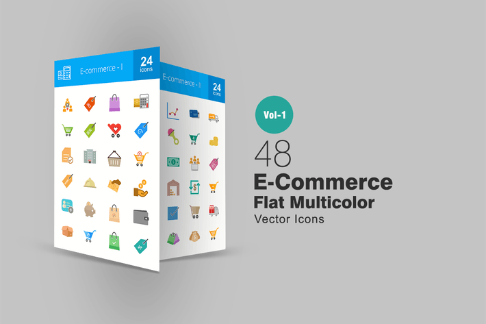 48 Ecommerce Flat Multicolor Icons