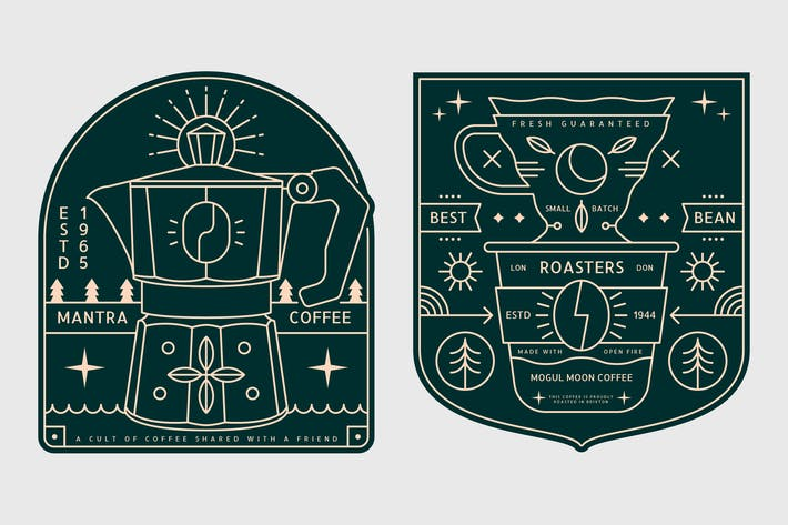 Thumbnail for 2 Coffee Monoline Logo Badge