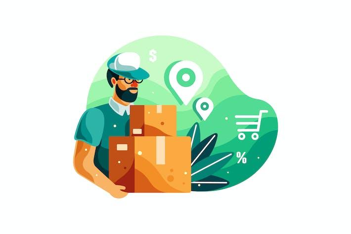 Illustration de la boîte de maintien de l'homme de livraison