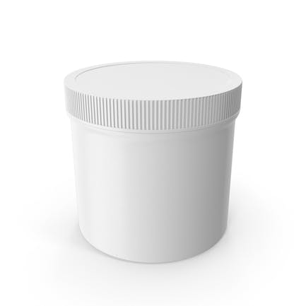 White Plastic Jar Wide Mouth Straight Sided 12oz Closed