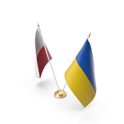 Table Flags Ukraine and Poland