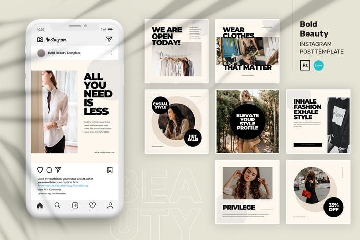 Thumbnail for Bold Beauty Instagram Post Canva and PSD Template