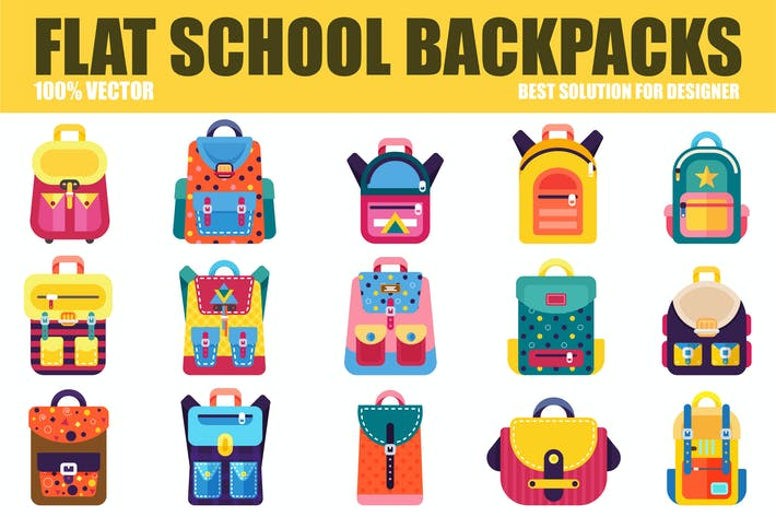 Thumbnail for Flat School Backpacks Vector