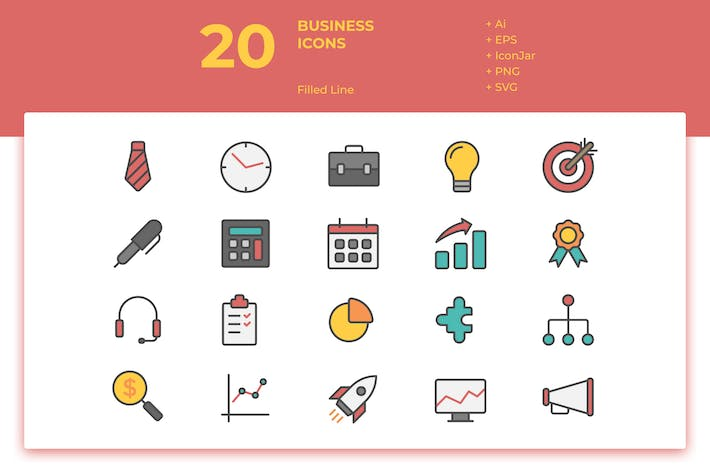Thumbnail for 20 Business Icons Vol. 1 (Filled Line)