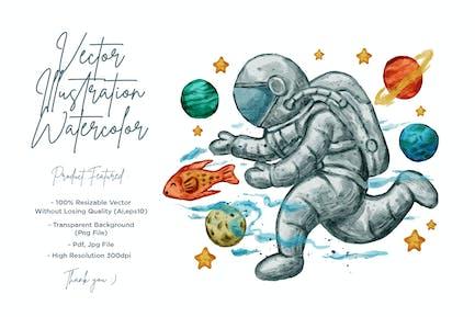 illustration d'astronaute mignon à l'aquarelle