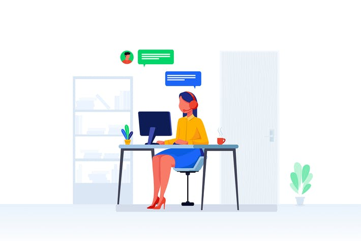 Thumbnail for Help Desk Support Vector Illustration