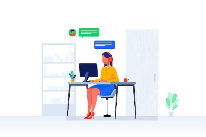 Help Desk Support Vector Illustration