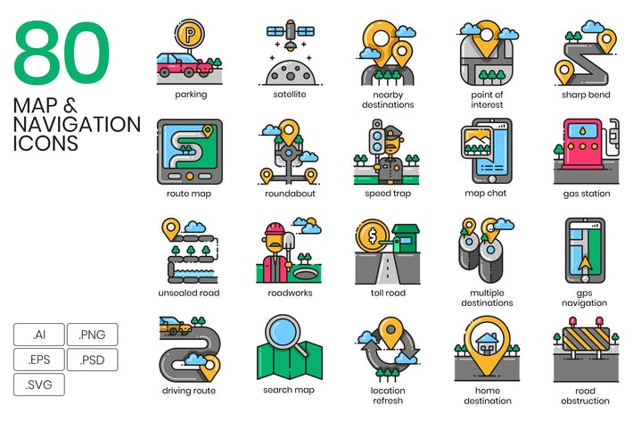 Thumbnail for 80 Map & Navigation Icons