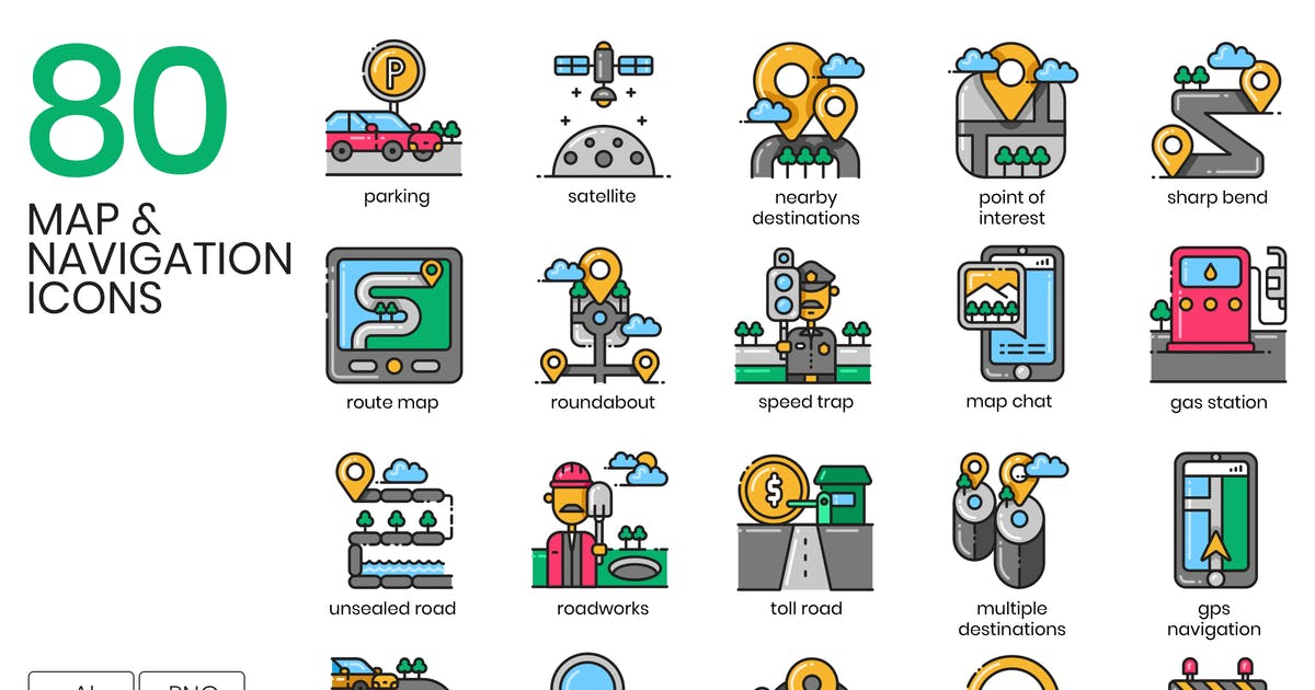 Download 80 Map & Navigation Icons by Krafted