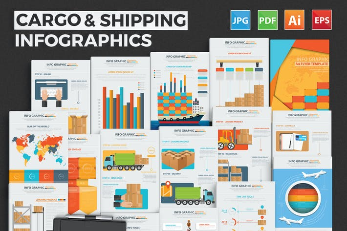 Thumbnail for Logistic & Transport Infographic Design 18 Pages