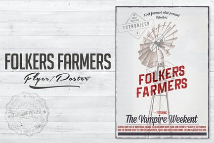 Folkers Farmers Flyer Poster