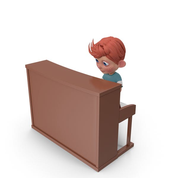 Cartoon Boy Charlie Playing Piano