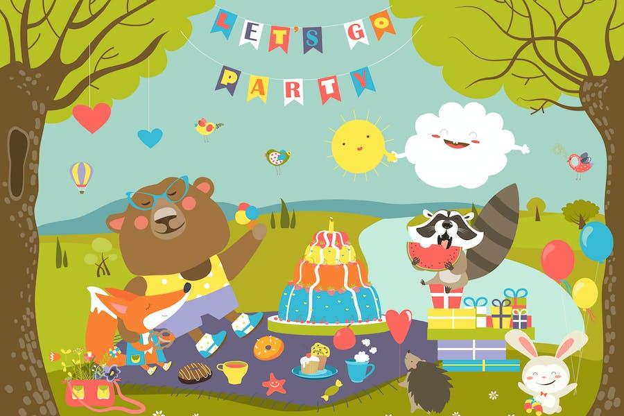 Animales Dibujos animados celebrando cumpleaños en el Bosque