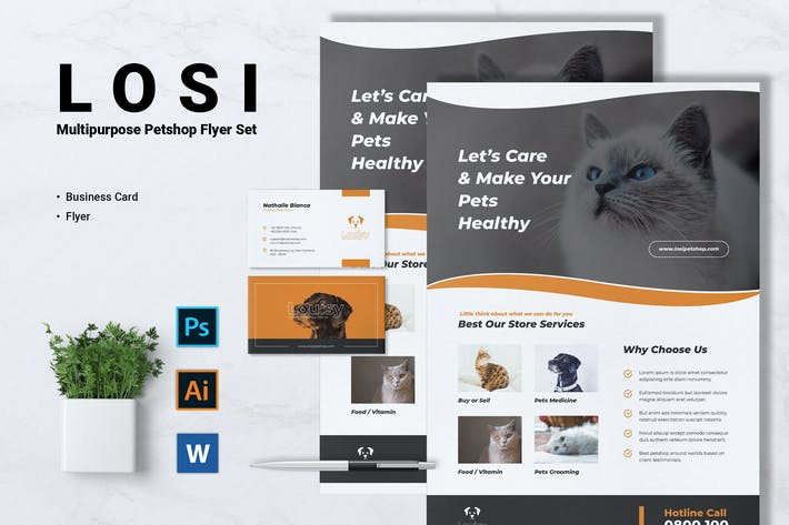 Thumbnail for LOSI Pet Shop Business Flyer & Business Card