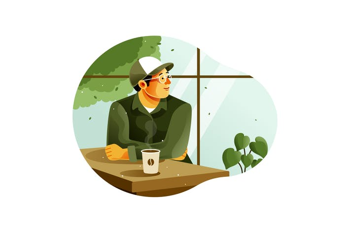 Thumbnail for Man enjoying drinking coffee in a coffee shop
