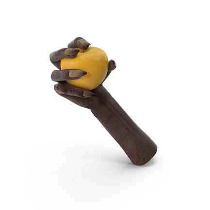 Creature Hand Grabbing a Yellow Apple