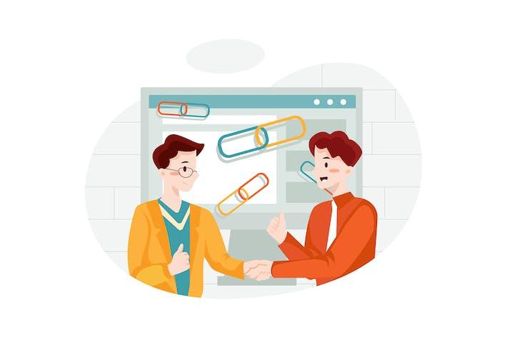 Qualität Link Building Illustration Konzept.