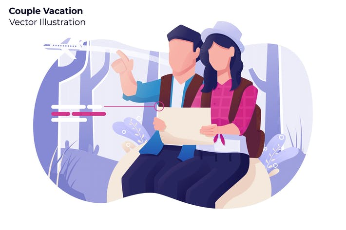 Thumbnail for Couple Vacation - Vector Illustration