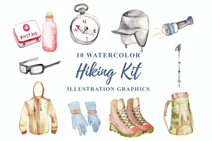 Thumbnail for 10 Watercolor Hiking Kit Illustration Graphics