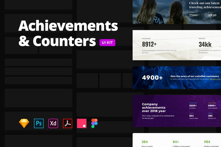 Thumbnail for Counters & Achievements – Multi-format UI Kit