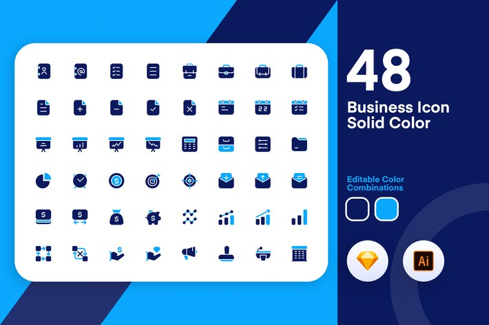 Thumbnail for Business Solid Color Icon Set