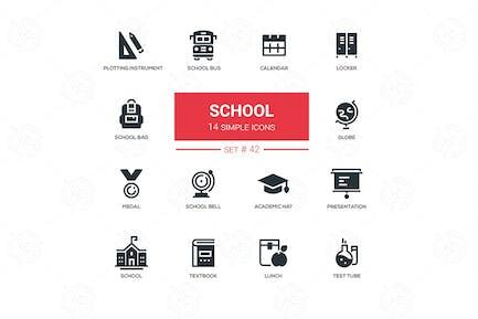 Schulkonzept - flaches Design Icons Set