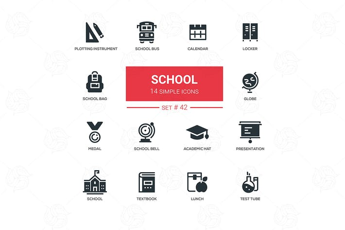 Thumbnail for School concept - flat design icons set