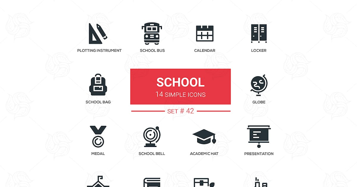 Download School concept - flat design icons set by BoykoPictures