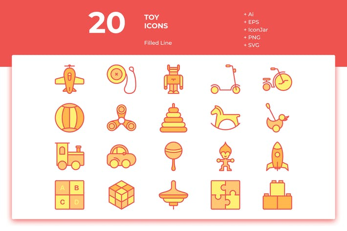 Thumbnail for 20 Toys Icons (Filled Line)