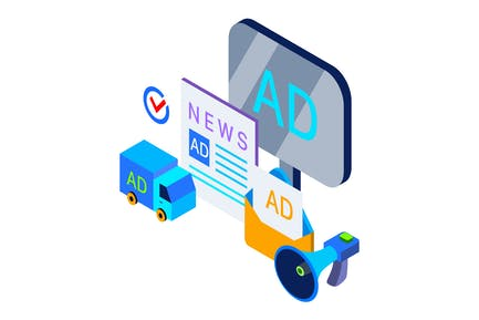 Publicidad y Promoción Isométrica Ilustración