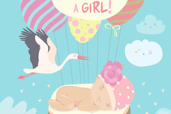 Thumbnail for Stork and baby on blue sky. Vector illustration