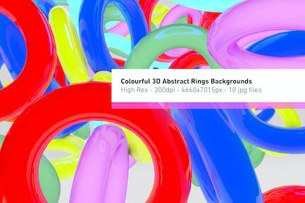 Bunte 3D Abstrakte Ringe Hintergrund