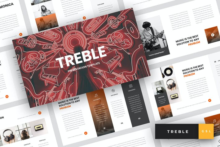 Thumbnail for Treble - Music Google Slides Template