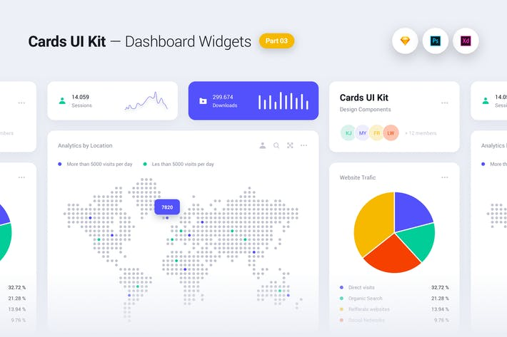 Cover Image For Cards UI Kit - Dashboard Widgets & Components