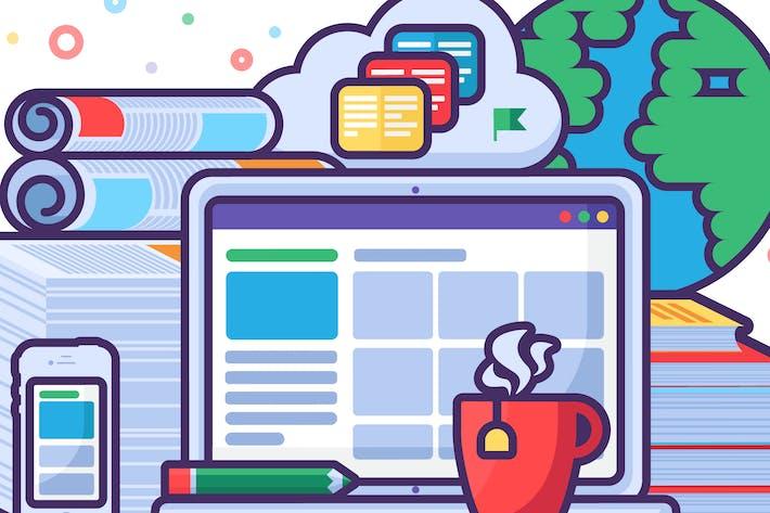 Thumbnail for Online Education Concept Illustration
