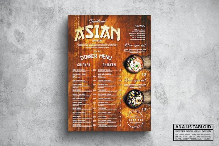 Thumbnail for Vintage Asian Poster Menu - A3 & US Tabloid