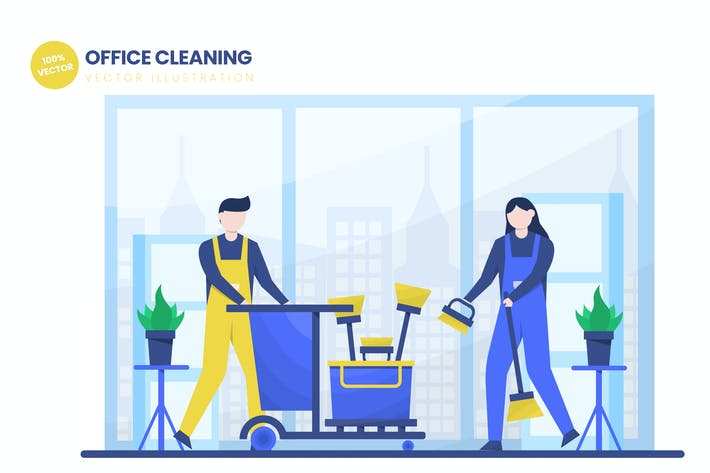 Thumbnail for Office Cleaning Flat Vector Illustration