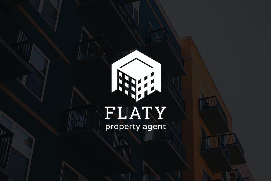 Flaty : Negative Space Property Logo