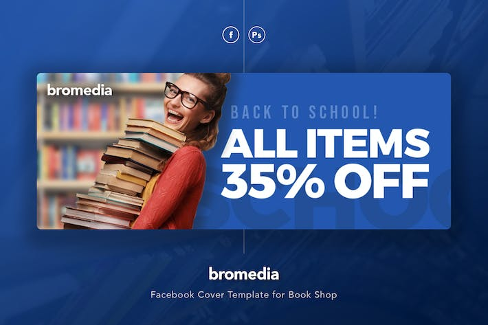 Thumbnail for Bromedia - Book Shop Facebook Cover Template