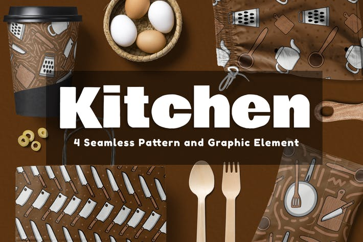 Cover Image For Kitchen Seamless Pattern and Element
