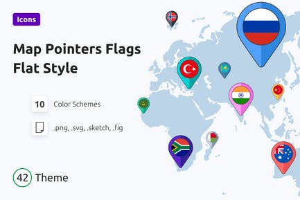 Kartenzeiger Flaggen Flag Stil
