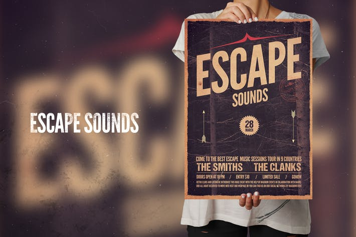 Cover Image For Escape Sounds Flyer Poster