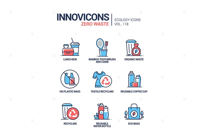Cover Image For Zero waste - vector line design style icons set