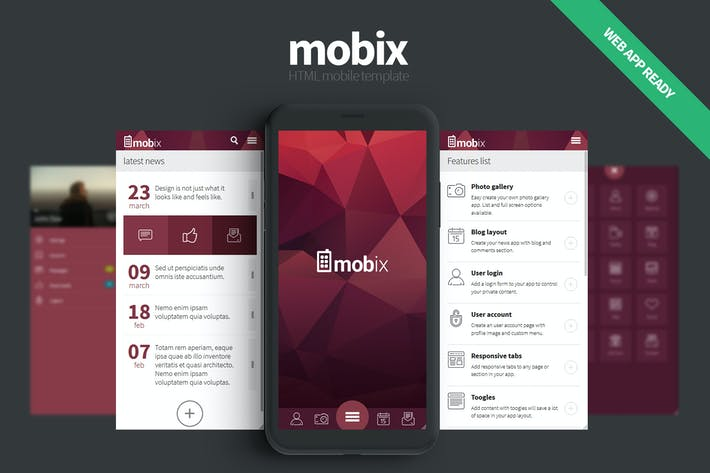 Thumbnail for Mobix - Modèle mobile HTML