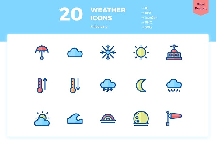 Thumbnail for 20 Weather Icons (Filled Line)