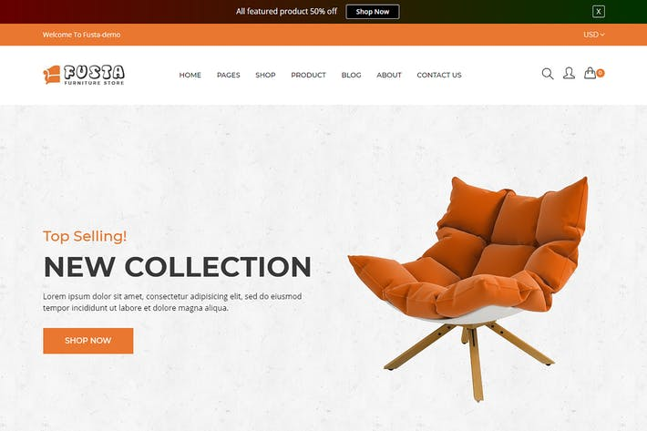 Cover Image For Fusta - Furniture Shopify Theme + RTL + Dropshippi