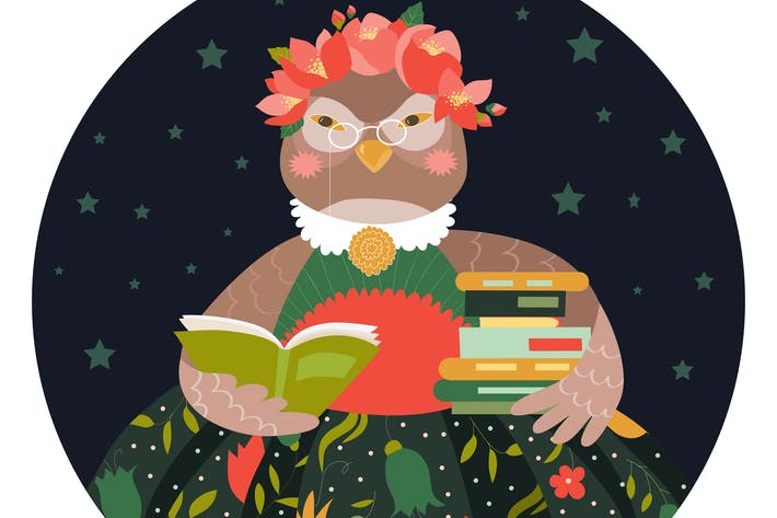 Thumbnail for Cute owl holding a stack of books