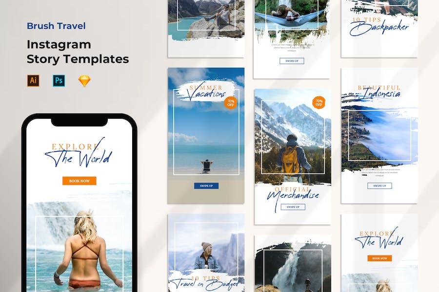 Instagram Stories Template Travel Brush Style